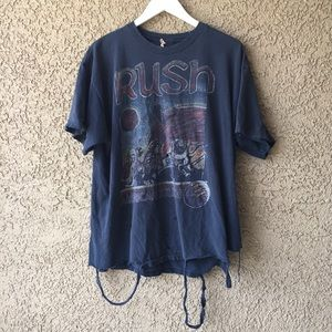 1978 RUSH Vintage Tee T Shirt Trashed Band Graphic